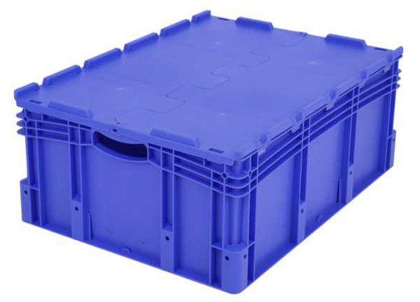 Euro-Stapelbehälter XL, 128 l, mit Standardboden und Klappdeckel, bis 60 kg belastbar, 600x800x338mm