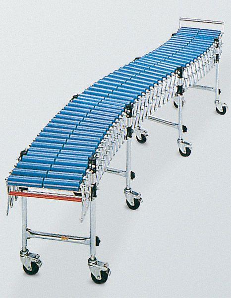 Scheren-Rollenbahn 400mm Breite, ausziehbar, Kunststoffrollen