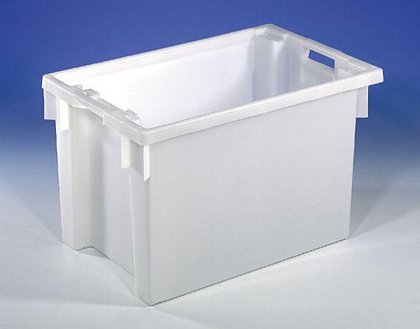 Dreh-Stapelbehälter aus HDPE, Farbe: grau, B600xT400xH300mm, 50L, Wände und Boden geschlossen
