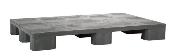 Hygiene-Kunststoff-Palette, aus PE-RE grau, 9 Füße, Tragkraft 1500 kg, 1200x800x140mm