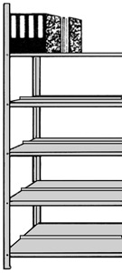 Büro-Regal Serie S25-SX doppelseitig ohne Abdeckboden
