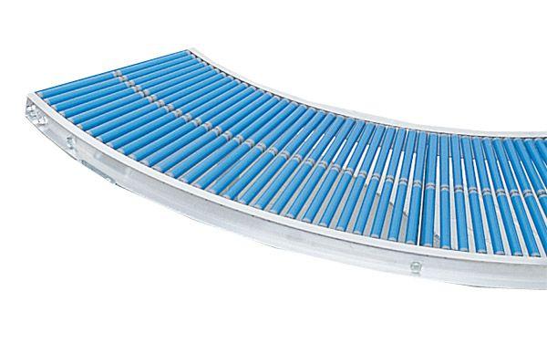 Klein-Rollenbahn-Kurve mit Kunststoffrollen, 500mm breit, 25er Teilung