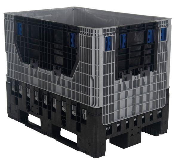 Faltbare Kunststoff-Palettenbox mit 2 Kufen, Inhalt 620L, Farbe: grau-sw., B1200xT800xH950mm